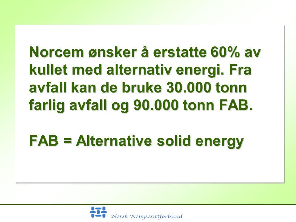 Norcem ønsker å erstatte 60% av kullet med alternativ energi.