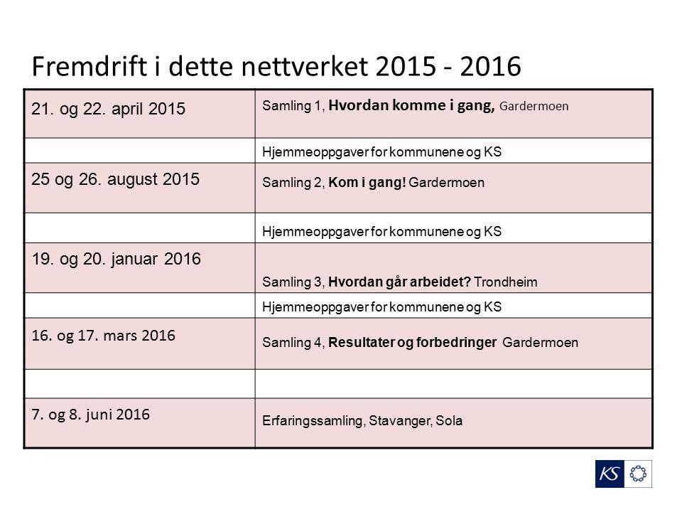 Fremdrift i dette nettverket 2015 - 2016 21. og 22.