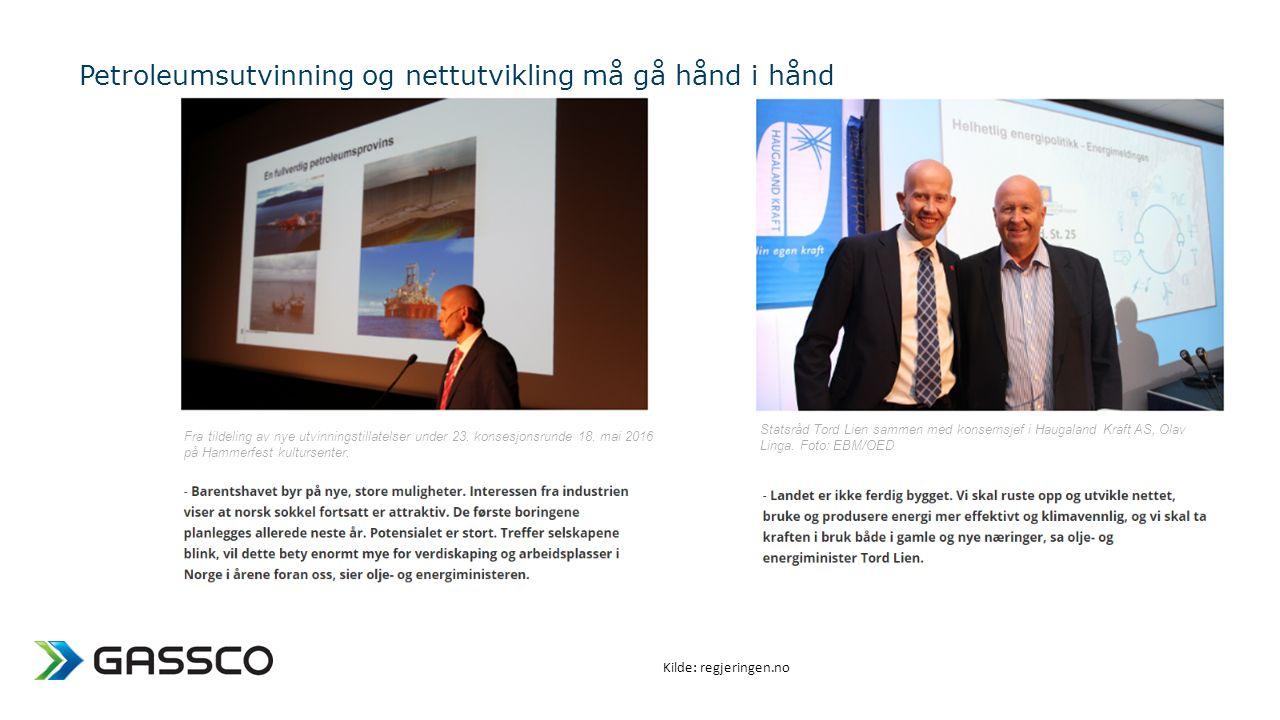 Petroleumsutvinning og nettutvikling må gå hånd i hånd Statsråd Tord Lien sammen med konsernsjef i Haugaland Kraft AS, Olav Linga.