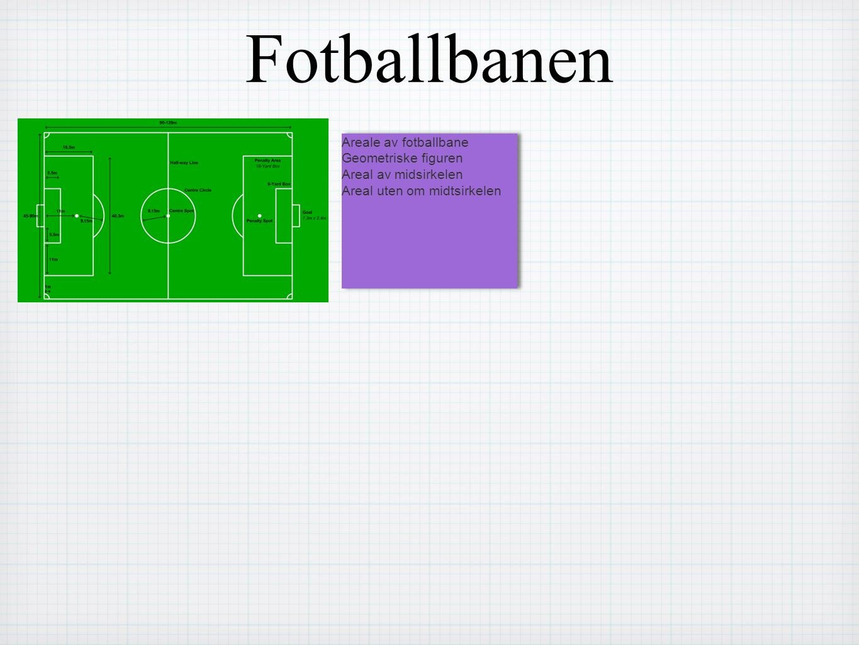 Fotballbanen Areale av fotballbane Geometriske figuren Areal av midsirkelen Areal uten om midtsirkelen Areale av fotballbane Geometriske figuren Areal av midsirkelen Areal uten om midtsirkelen