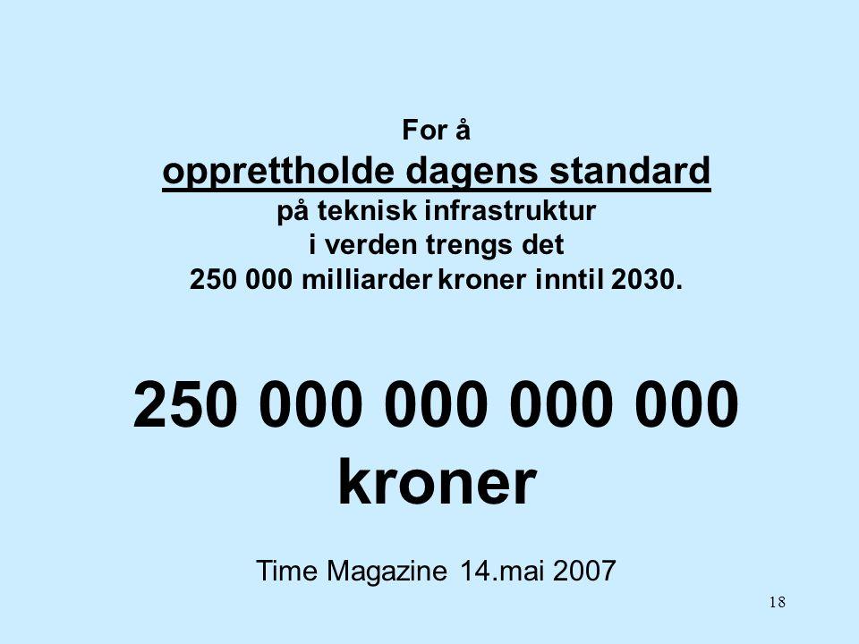 18 For å opprettholde dagens standard på teknisk infrastruktur i verden trengs det 250 000 milliarder kroner inntil 2030. 250 000 000 000 000 kroner T
