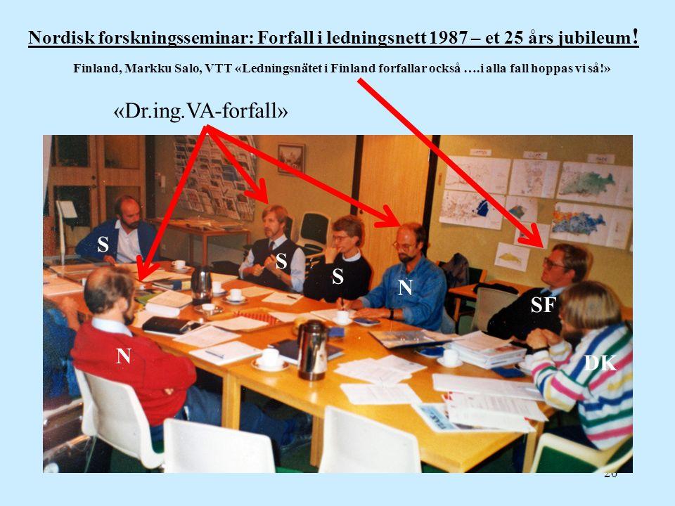 20 Nordisk forskningsseminar: Forfall i ledningsnett 1987 – et 25 års jubileum ! N N S S S DK SF «Dr.ing.VA-forfall» Finland, Markku Salo, VTT «Lednin