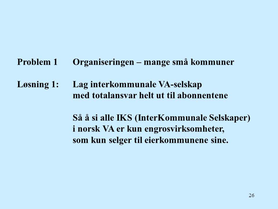 26 Problem 1Organiseringen – mange små kommuner Løsning 1:Lag interkommunale VA-selskap med totalansvar helt ut til abonnentene Så å si alle IKS (Inte