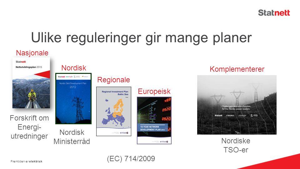 Ulike reguleringer gir mange planer Fremtiden er elektrisk Nasjonale Nordisk Regionale Europeisk (EC) 714/2009 Nordisk Ministerråd Forskrift om Energi- utredninger Nordiske TSO-er Komplementerer