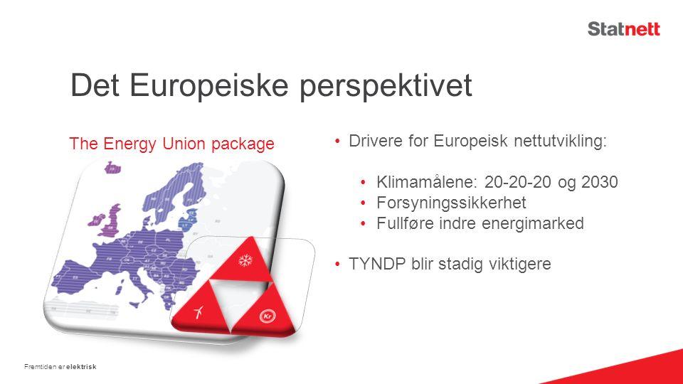 Det Europeiske perspektivet Drivere for Europeisk nettutvikling: Klimamålene: 20-20-20 og 2030 Forsyningssikkerhet Fullføre indre energimarked TYNDP blir stadig viktigere Fremtiden er elektrisk The Energy Union package