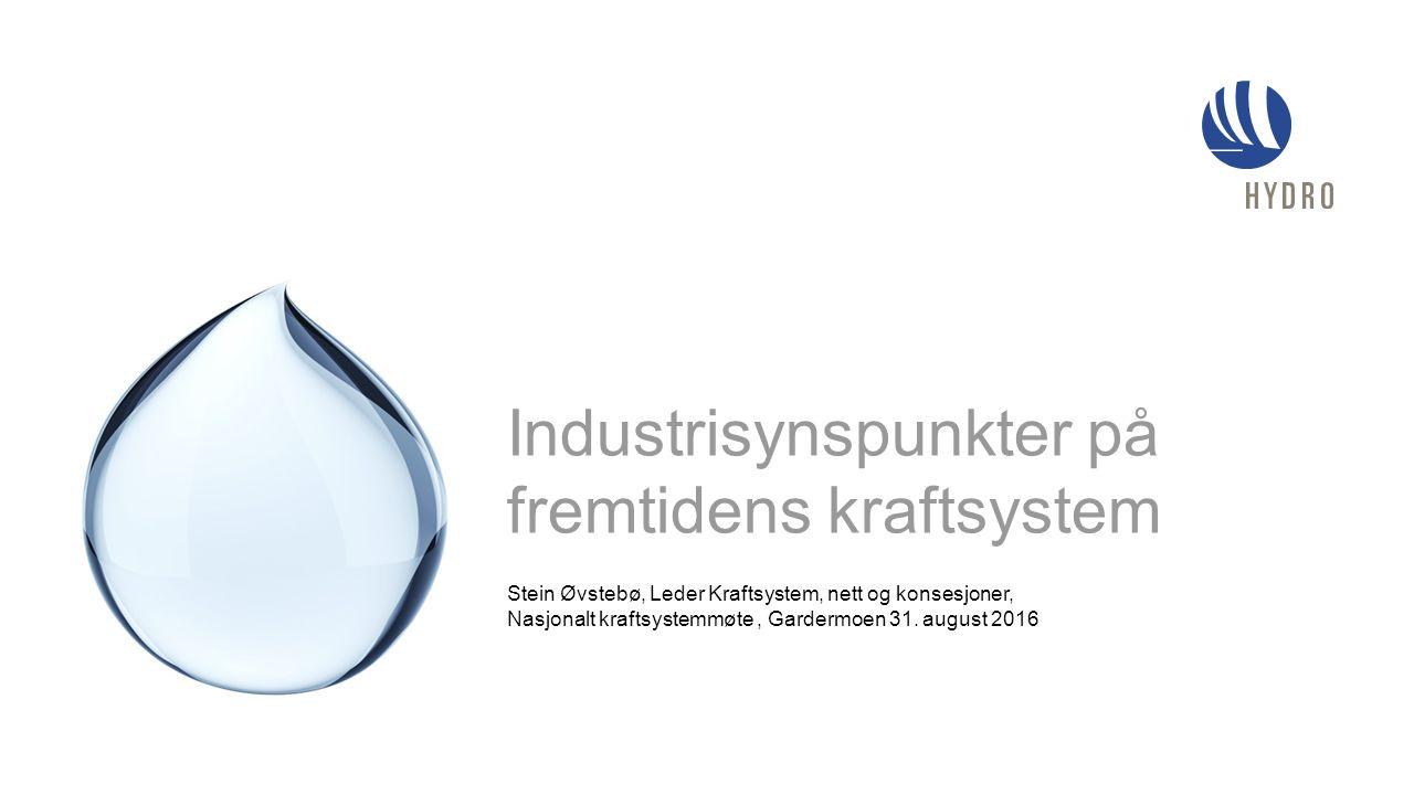 Stein Øvstebø, Leder Kraftsystem, nett og konsesjoner, Nasjonalt kraftsystemmøte, Gardermoen 31. august 2016 Industrisynspunkter på fremtidens kraftsy