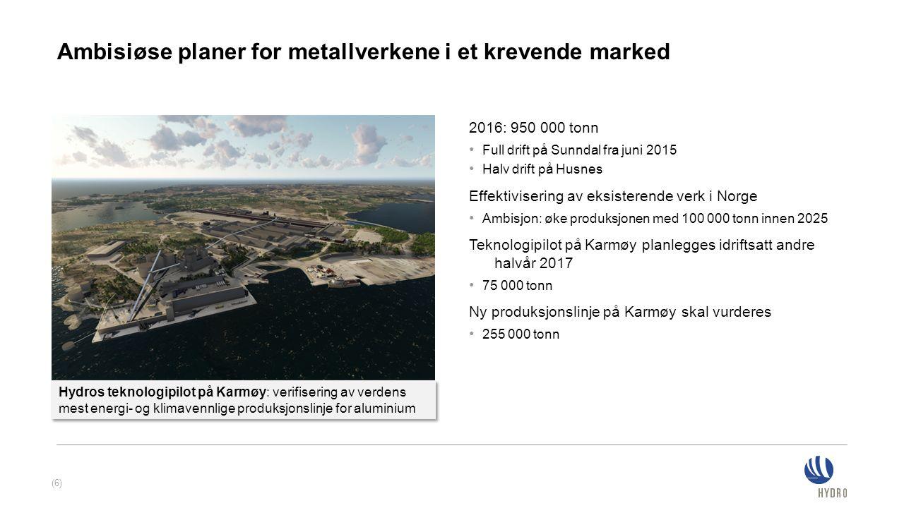 Ambisiøse planer for metallverkene i et krevende marked 2016: 950 000 tonn Full drift på Sunndal fra juni 2015 Halv drift på Husnes Effektivisering av