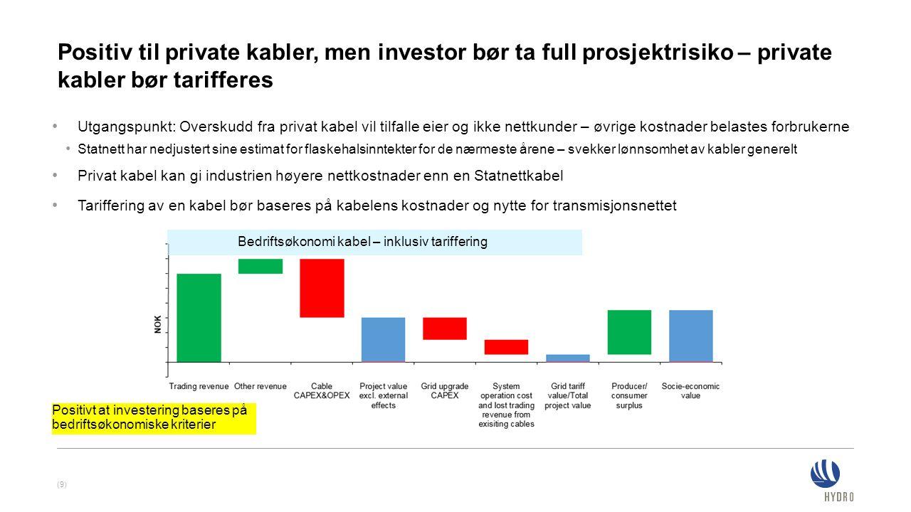 Positiv til private kabler, men investor bør ta full prosjektrisiko – private kabler bør tarifferes (9) Utgangspunkt: Overskudd fra privat kabel vil t