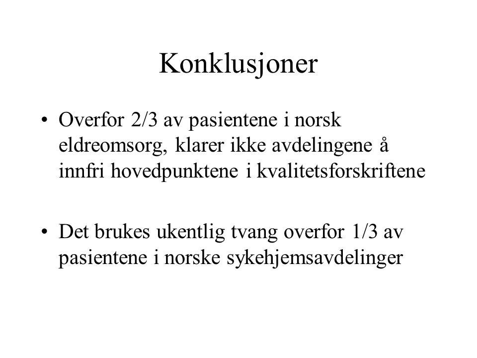 Konklusjoner Overfor 2/3 av pasientene i norsk eldreomsorg, klarer ikke avdelingene å innfri hovedpunktene i kvalitetsforskriftene Det brukes ukentlig tvang overfor 1/3 av pasientene i norske sykehjemsavdelinger