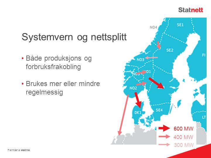 Systemvern og nettsplitt Både produksjons og forbruksfrakobling Brukes mer eller mindre regelmessig Fremtiden er elektrisk 600 MW 400 MW 300 MW