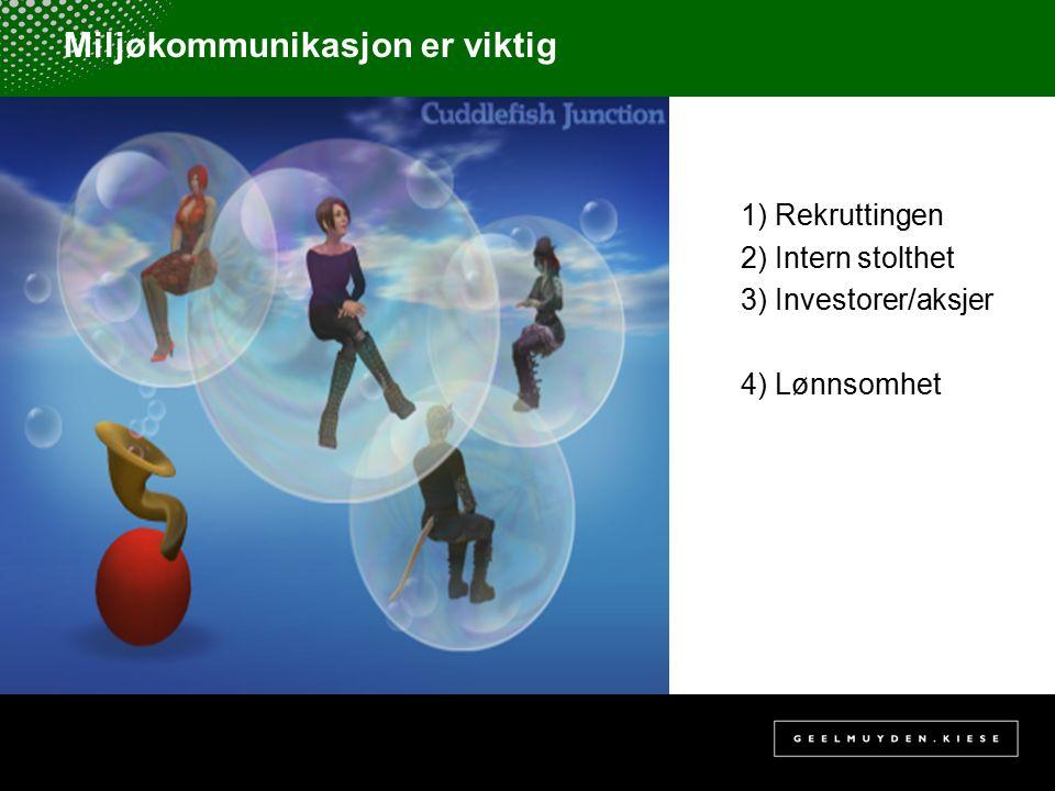 Miljøkommunikasjon er viktig 1) Rekruttingen 2) Intern stolthet 3) Investorer/aksjer 4) Lønnsomhet