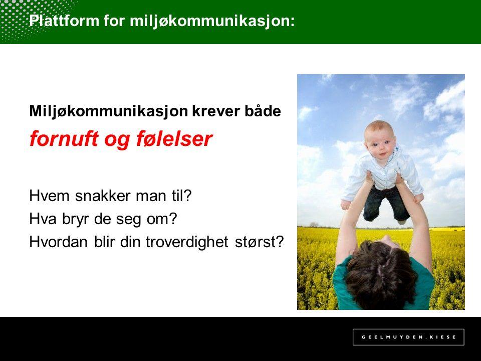 Plattform for miljøkommunikasjon: Miljøkommunikasjon krever både fornuft og følelser Hvem snakker man til? Hva bryr de seg om? Hvordan blir din trover