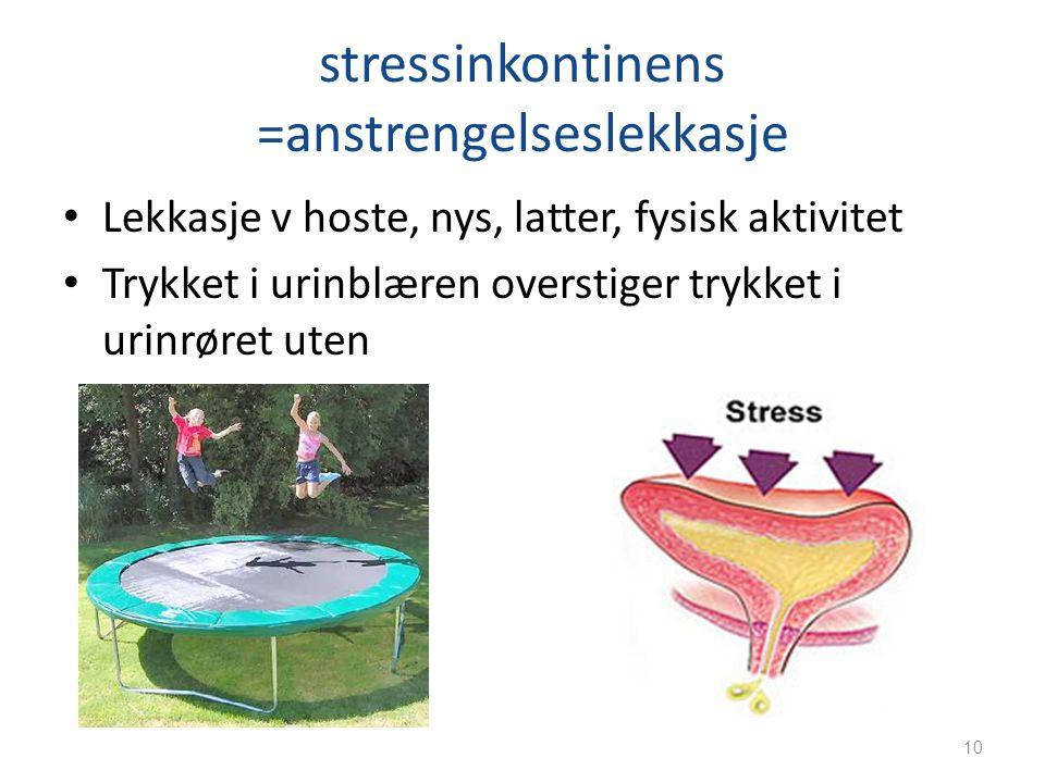 stressinkontinens =anstrengelseslekkasje Lekkasje v hoste, nys, latter, fysisk aktivitet Trykket i urinblæren overstiger trykket i urinrøret uten 10