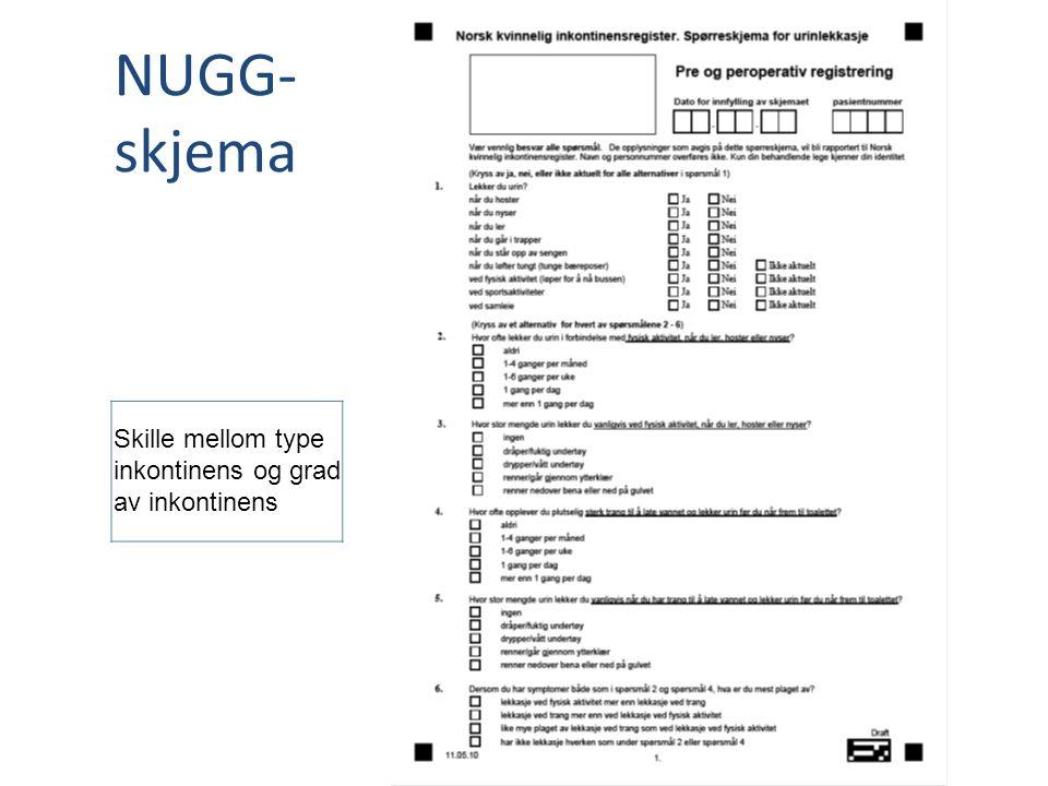 NUGG- skjema Skille mellom type inkontinens og grad av inkontinens