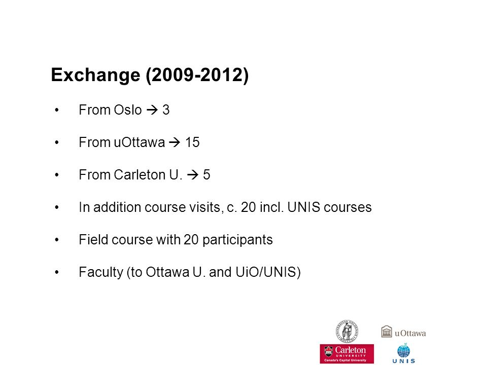 Exchange (2009-2012) From Oslo  3 From uOttawa  15 From Carleton U.