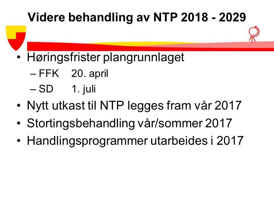 Videre behandling av NTP 2018 - 2029 Høringsfrister plangrunnlaget –FFK20.