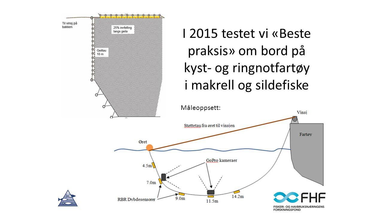 I 2015 testet vi «Beste praksis» om bord på kyst- og ringnotfartøy i makrell og sildefiske Måleoppsett: