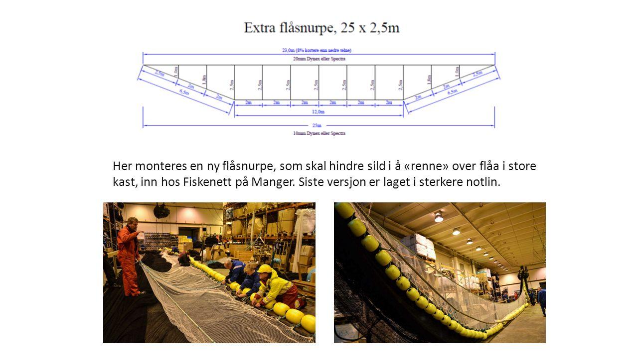 Her monteres en ny flåsnurpe, som skal hindre sild i å «renne» over flåa i store kast, inn hos Fiskenett på Manger.