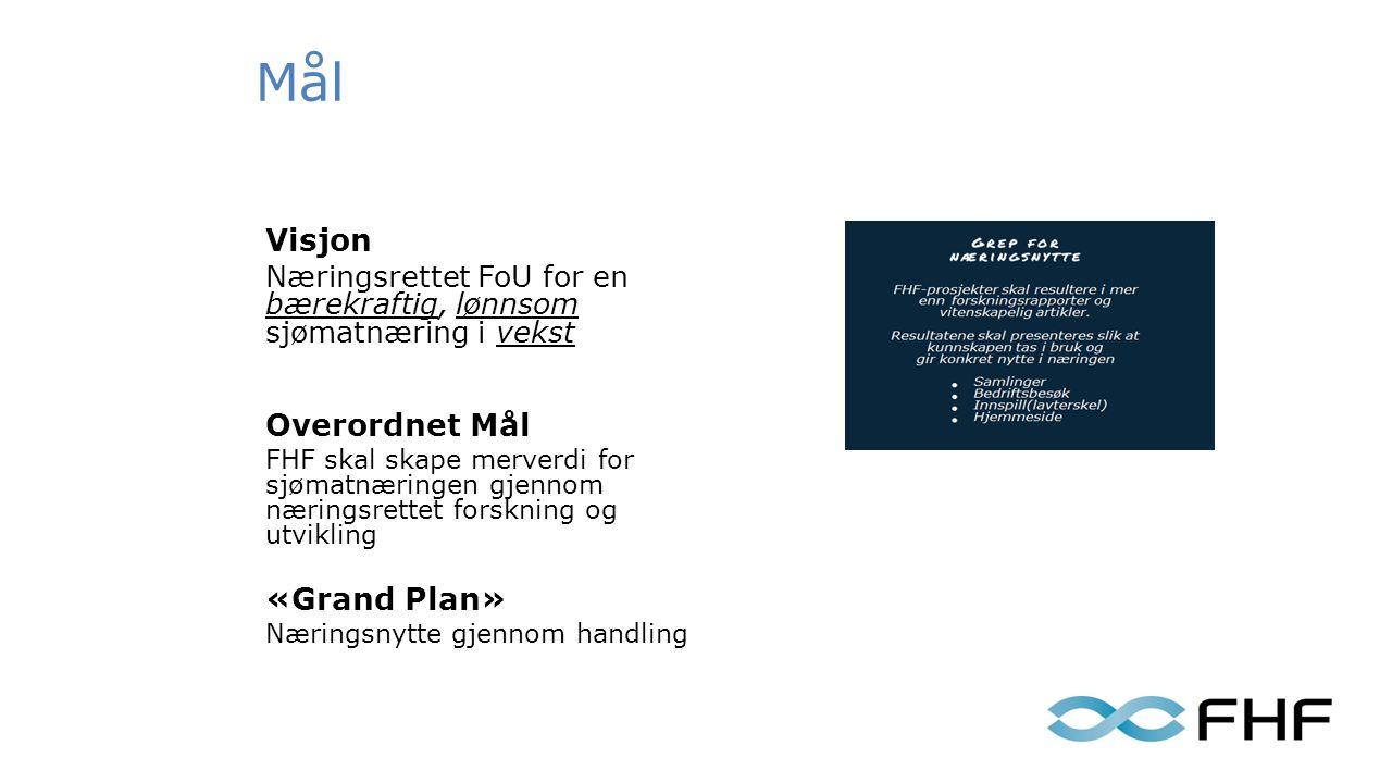Mål Visjon Næringsrettet FoU for en bærekraftig, lønnsom sjømatnæring i vekst Overordnet Mål FHF skal skape merverdi for sjømatnæringen gjennom næringsrettet forskning og utvikling «Grand Plan» Næringsnytte gjennom handling