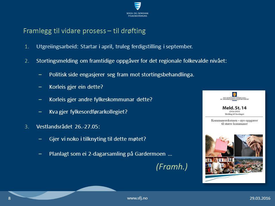 www.sfj.no 29.03.20168 Framlegg til vidare prosess – til drøfting 1.Utgreiingsarbeid: Startar i april, truleg ferdigstilling i september.
