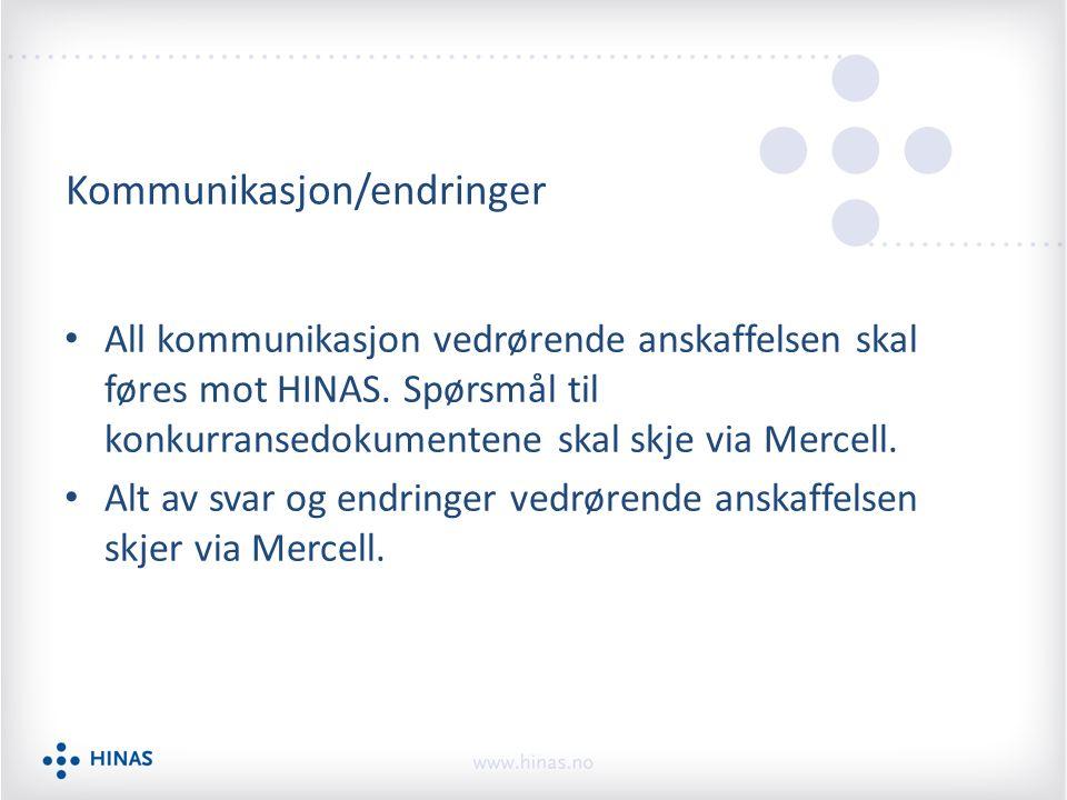 Kommunikasjon/endringer All kommunikasjon vedrørende anskaffelsen skal føres mot HINAS. Spørsmål til konkurransedokumentene skal skje via Mercell. Alt
