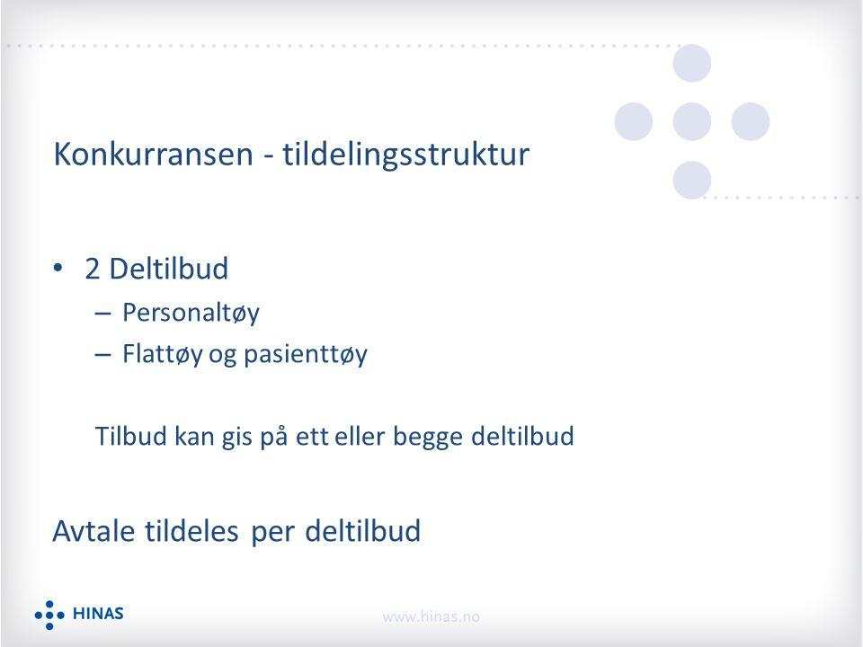 Konkurransen - tildelingsstruktur 2 Deltilbud – Personaltøy – Flattøy og pasienttøy Tilbud kan gis på ett eller begge deltilbud Avtale tildeles per deltilbud