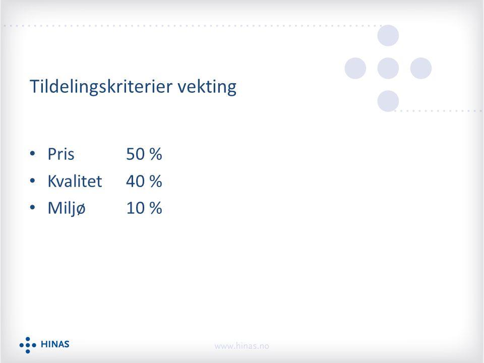 Tildelingskriterier vekting Pris 50 % Kvalitet40 % Miljø10 %