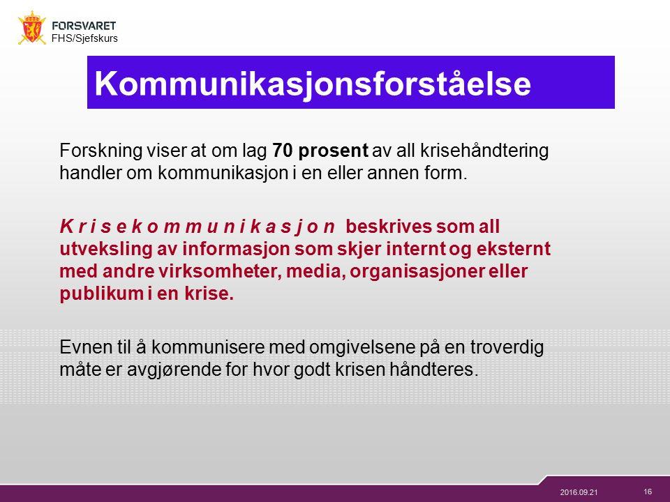 16 FHS/Sjefskurs 2016.09.21 Kommunikasjonsforståelse Forskning viser at om lag 70 prosent av all krisehåndtering handler om kommunikasjon i en eller annen form.