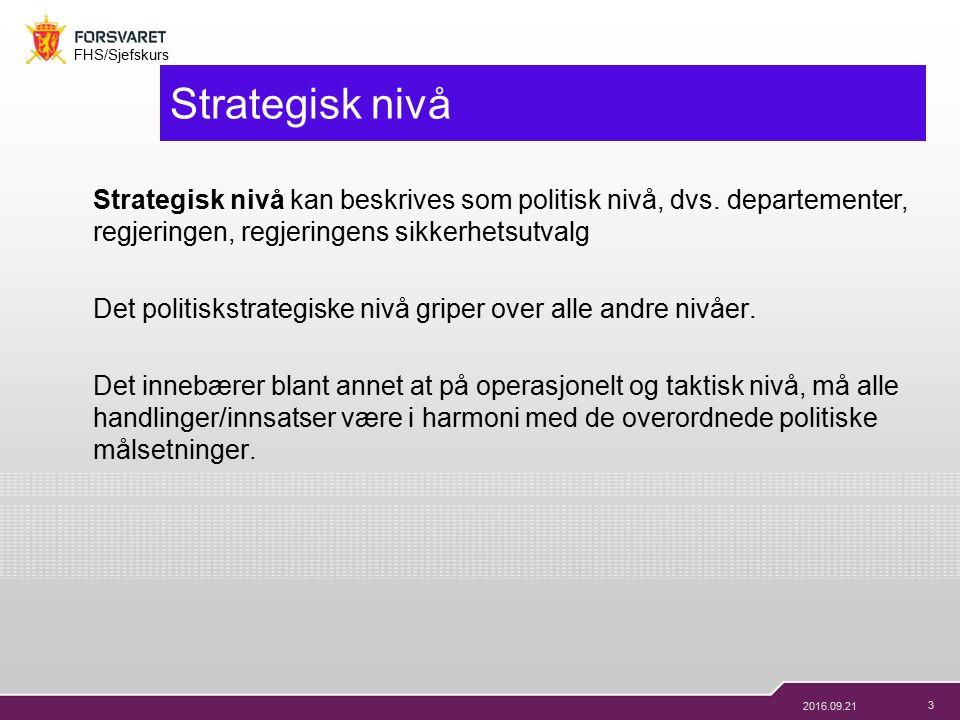 3 FHS/Sjefskurs 2016.09.21 Strategisk nivå Strategisk nivå kan beskrives som politisk nivå, dvs.