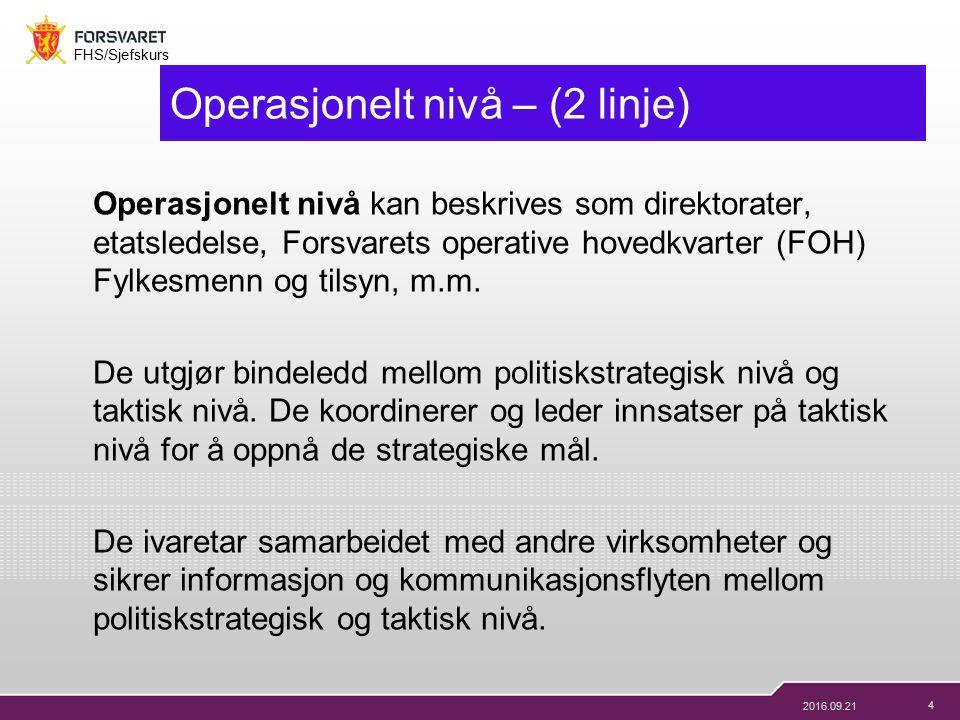 4 FHS/Sjefskurs 2016.09.21 Operasjonelt nivå – (2 linje) Operasjonelt nivå kan beskrives som direktorater, etatsledelse, Forsvarets operative hovedkvarter (FOH) Fylkesmenn og tilsyn, m.m.