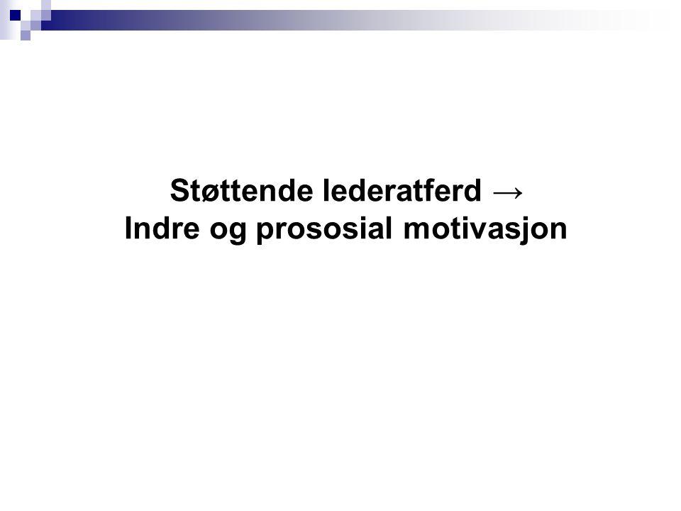 Støttende lederatferd → Indre og prososial motivasjon