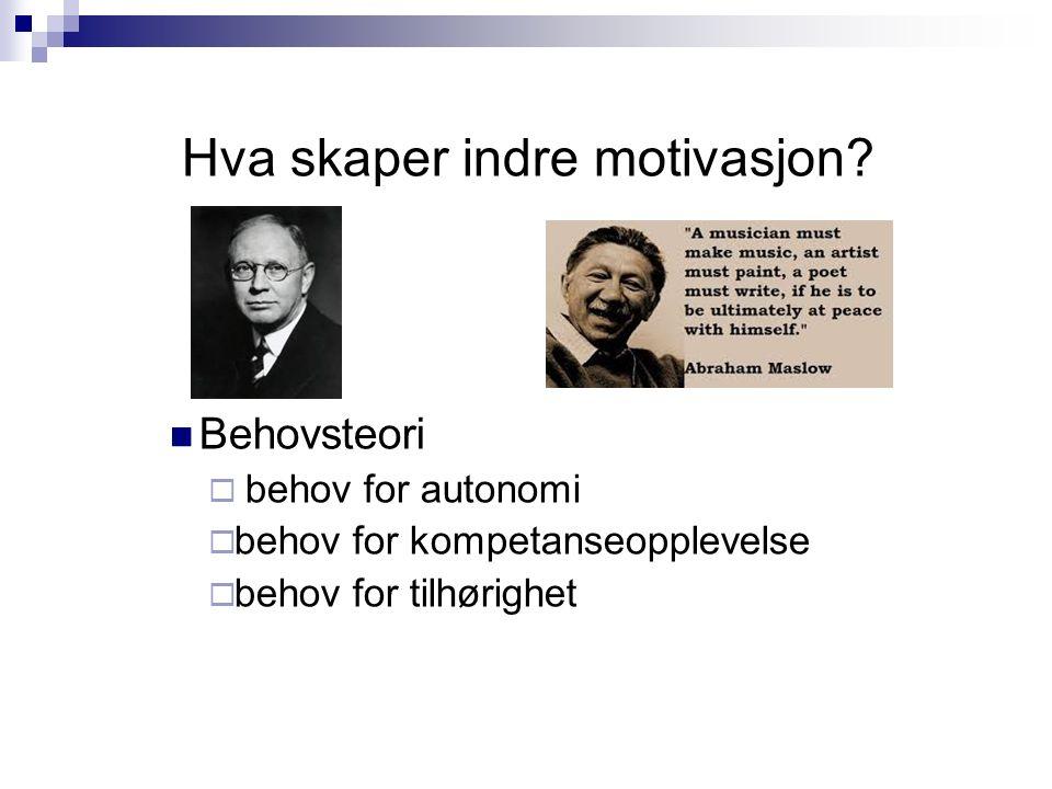 Hva skaper indre motivasjon.