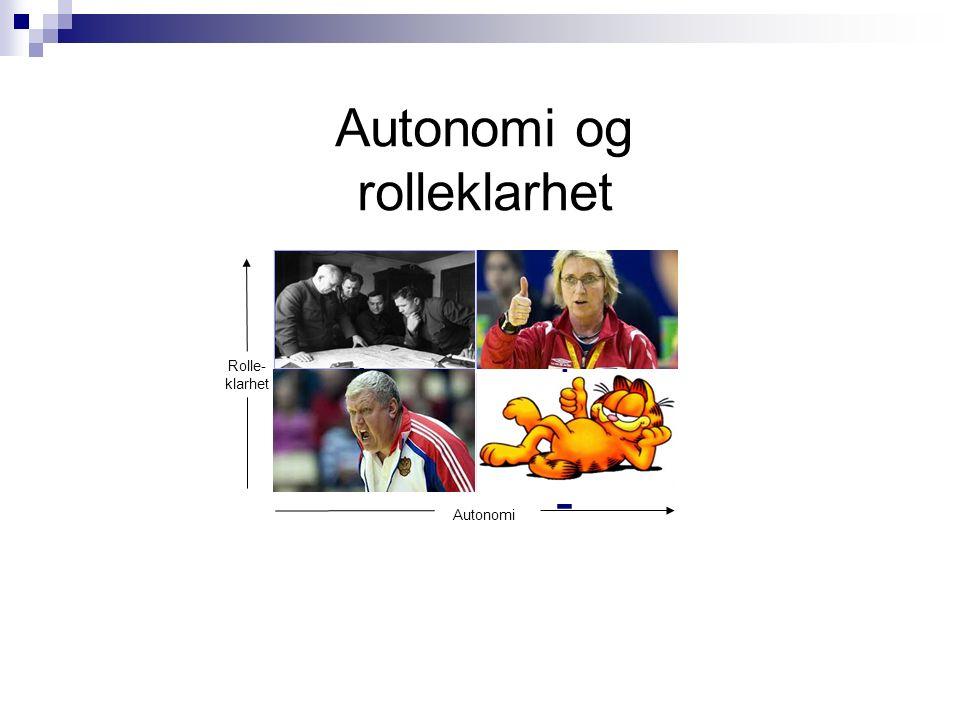 Autonomi og rolleklarhet + -+-+ +-+- -- Autonomi Rolle- klarhet