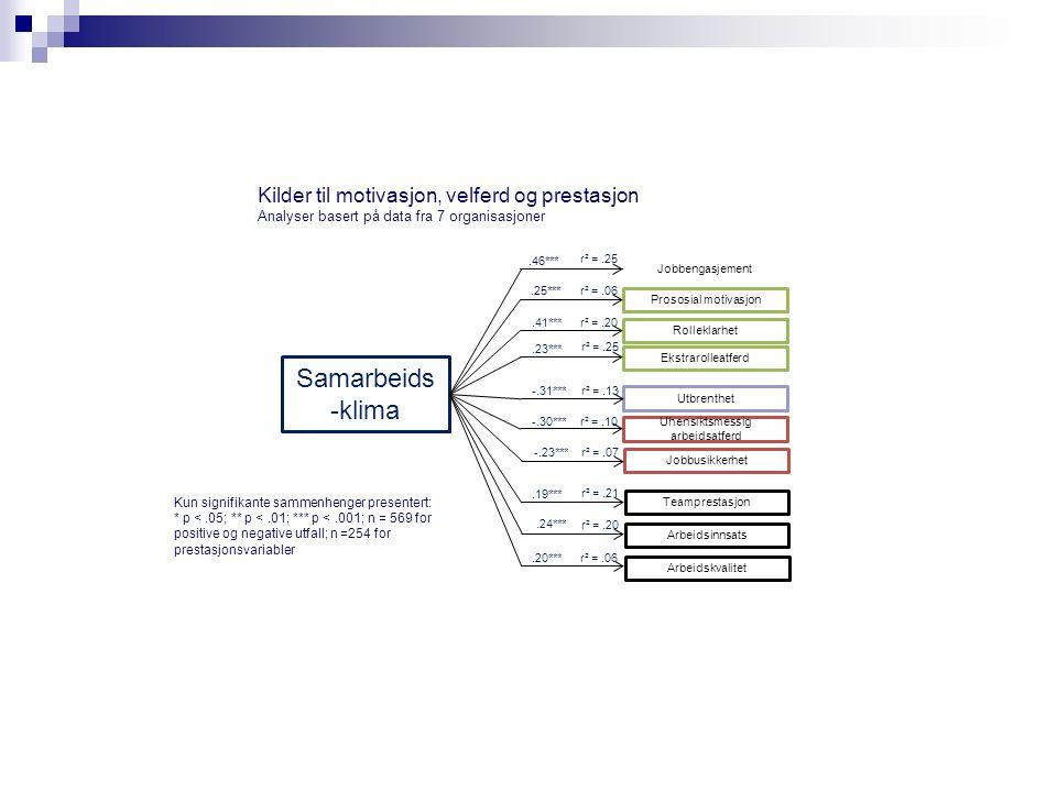 Kilder til motivasjon, velferd og prestasjon Analyser basert på data fra 7 organisasjoner Prososial motivasjon Rolleklarhet r² =.25 Teamprestasjon Utbrenthet Uhensiktsmessig arbeidsatferd Jobbengasjement Kun signifikante sammenhenger presentert: * p <.05; ** p <.01; *** p <.001; n = 569 for positive og negative utfall; n =254 for prestasjonsvariabler.46*** Arbeidsinnsats Samarbeids -klima Jobbusikkerhet Arbeidskvalitet Ekstrarolleatferd.25***.41***.23*** -.31*** -.30***.20***.19*** r² =.06 r² =.20 r² =.25 r² =.13 r² =.10 r² =.21 r² =.06 r² =.07 -.23*** r² =.20.24***