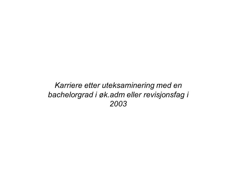 Karriere etter uteksaminering med en bachelorgrad i øk.adm eller revisjonsfag i 2003