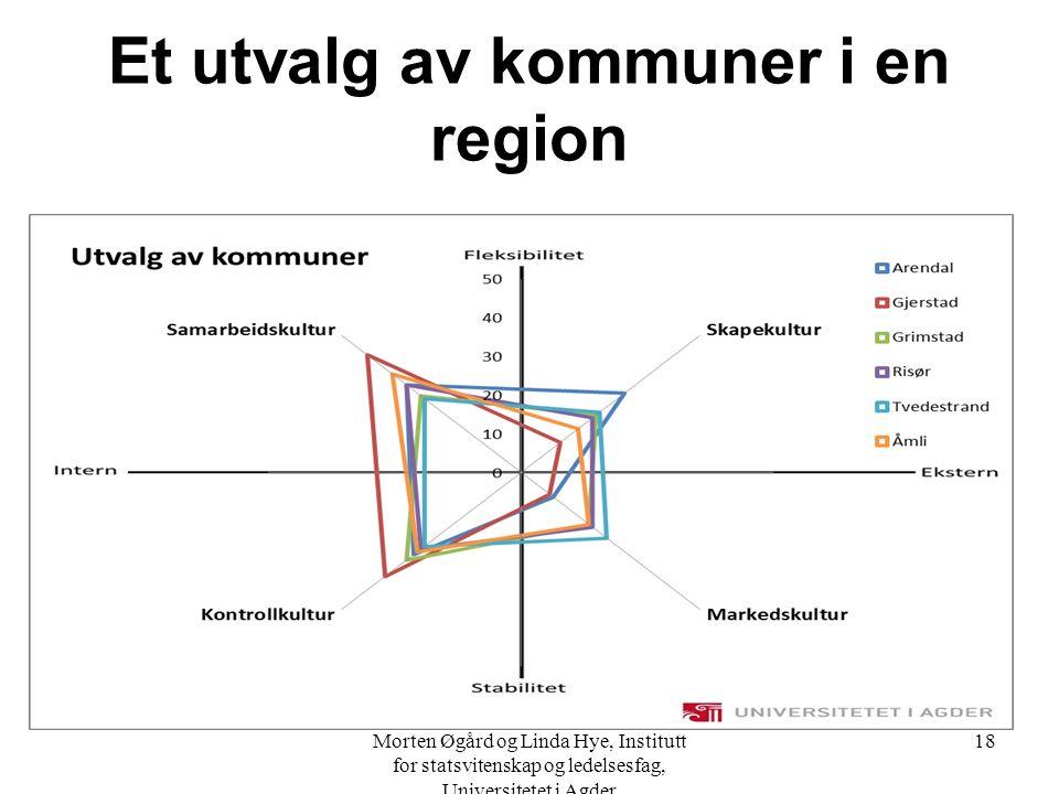 Et utvalg av kommuner i en region Morten Øgård og Linda Hye, Institutt for statsvitenskap og ledelsesfag, Universitetet i Agder 18