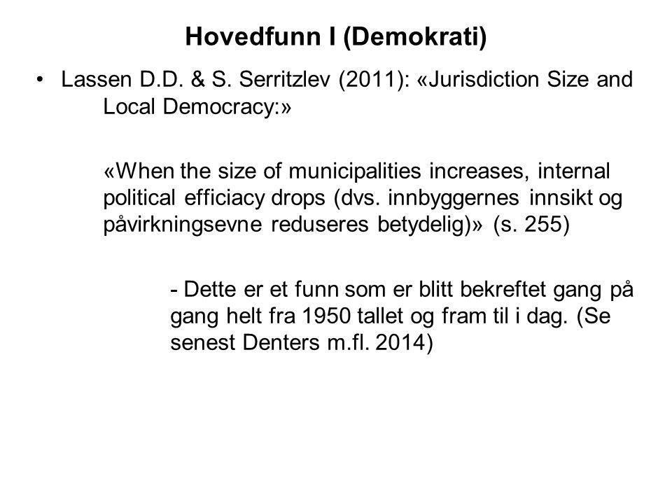 Hovedfunn I (Demokrati) Lassen D.D. & S. Serritzlev (2011): «Jurisdiction Size and Local Democracy:» «When the size of municipalities increases, inter