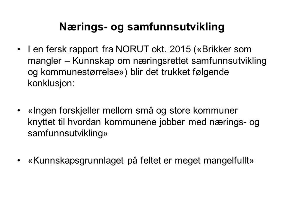 Nærings- og samfunnsutvikling I en fersk rapport fra NORUT okt. 2015 («Brikker som mangler – Kunnskap om næringsrettet samfunnsutvikling og kommunestø