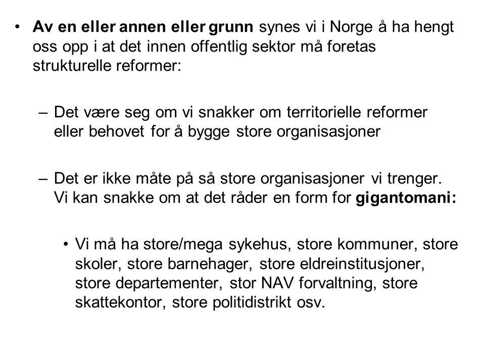 Av en eller annen eller grunn synes vi i Norge å ha hengt oss opp i at det innen offentlig sektor må foretas strukturelle reformer: –Det være seg om vi snakker om territorielle reformer eller behovet for å bygge store organisasjoner –Det er ikke måte på så store organisasjoner vi trenger.