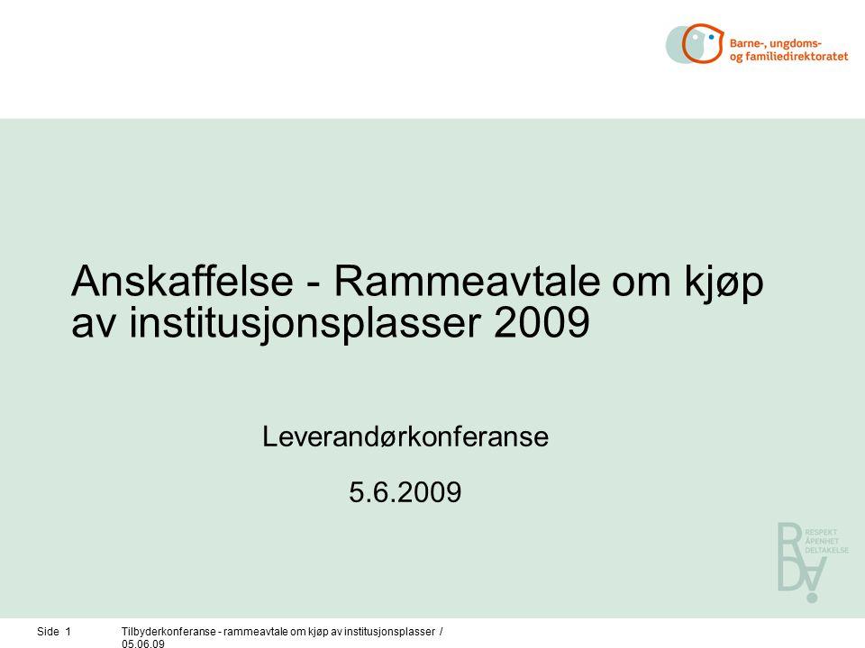 Side 1Tilbyderkonferanse - rammeavtale om kjøp av institusjonsplasser / 05.06.09 Anskaffelse - Rammeavtale om kjøp av institusjonsplasser 2009 Leverandørkonferanse 5.6.2009
