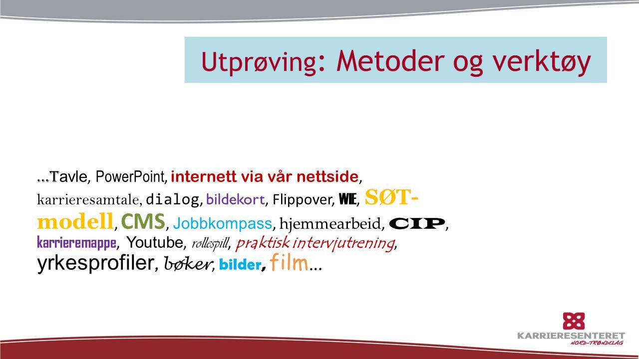 Utprøving : Metoder og verktøy …t avle, PowerPoint, internett via vår nettside, karrieresamtale, dialog, bildekort, Flippover, WIE, SØT- modell, CMS,
