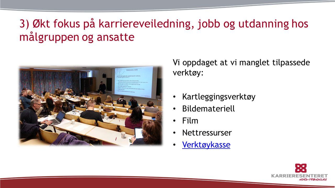3) Økt fokus på karriereveiledning, jobb og utdanning hos målgruppen og ansatte Vi oppdaget at vi manglet tilpassede verktøy: Kartleggingsverktøy Bild