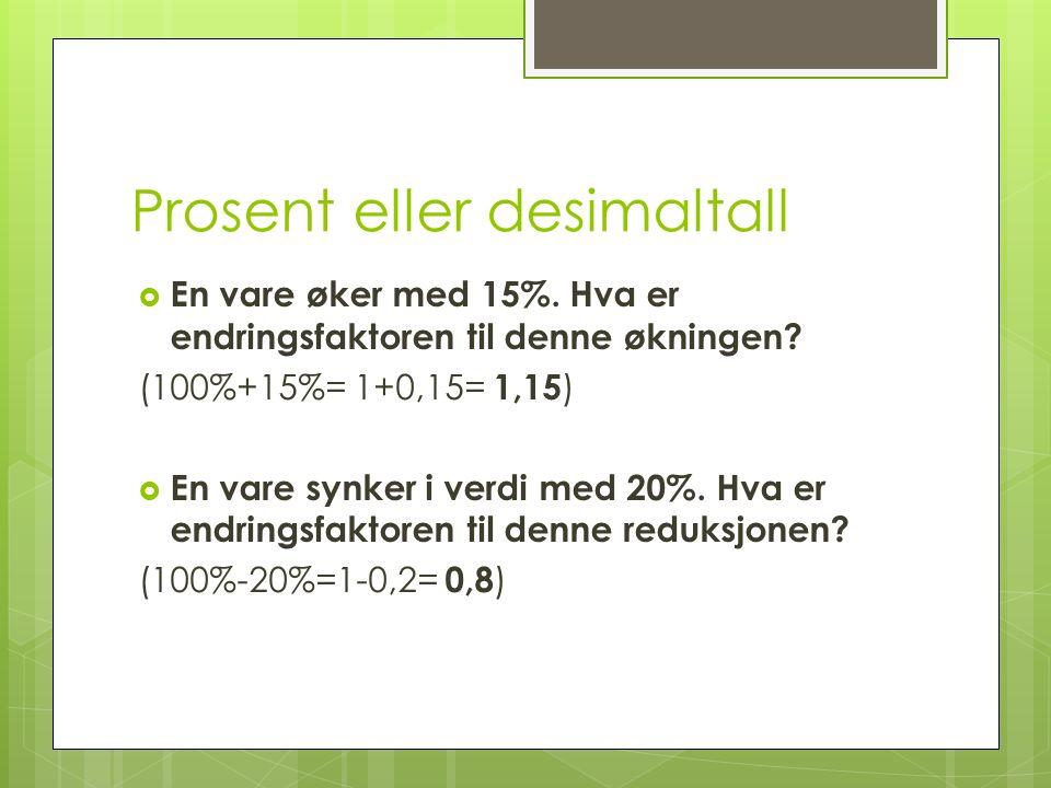 Prosent eller desimaltall  En vare øker med 15%. Hva er endringsfaktoren til denne økningen? (100%+15%= 1+0,15= 1,15 )  En vare synker i verdi med 2