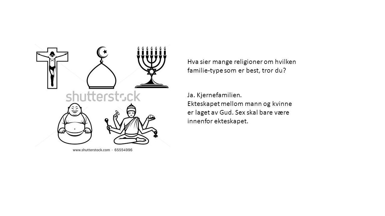 Hva sier mange religioner om hvilken familie-type som er best, tror du? Ja. Kjernefamilien. Ekteskapet mellom mann og kvinne er laget av Gud. Sex skal