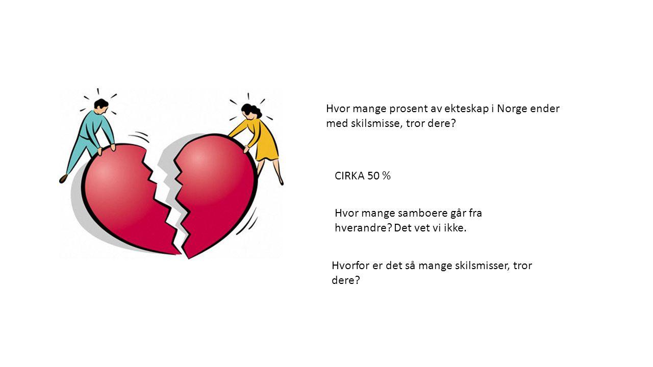 Hvor mange prosent av ekteskap i Norge ender med skilsmisse, tror dere? CIRKA 50 % Hvorfor er det så mange skilsmisser, tror dere? Hvor mange samboere