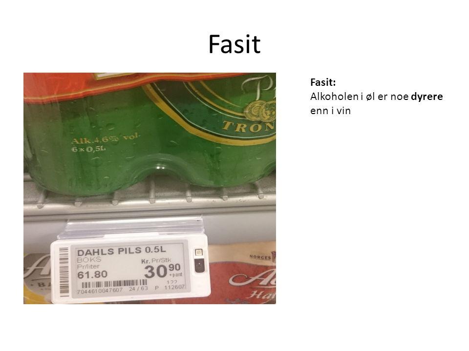 Fasit Fasit: Alkoholen i øl er noe dyrere enn i vin