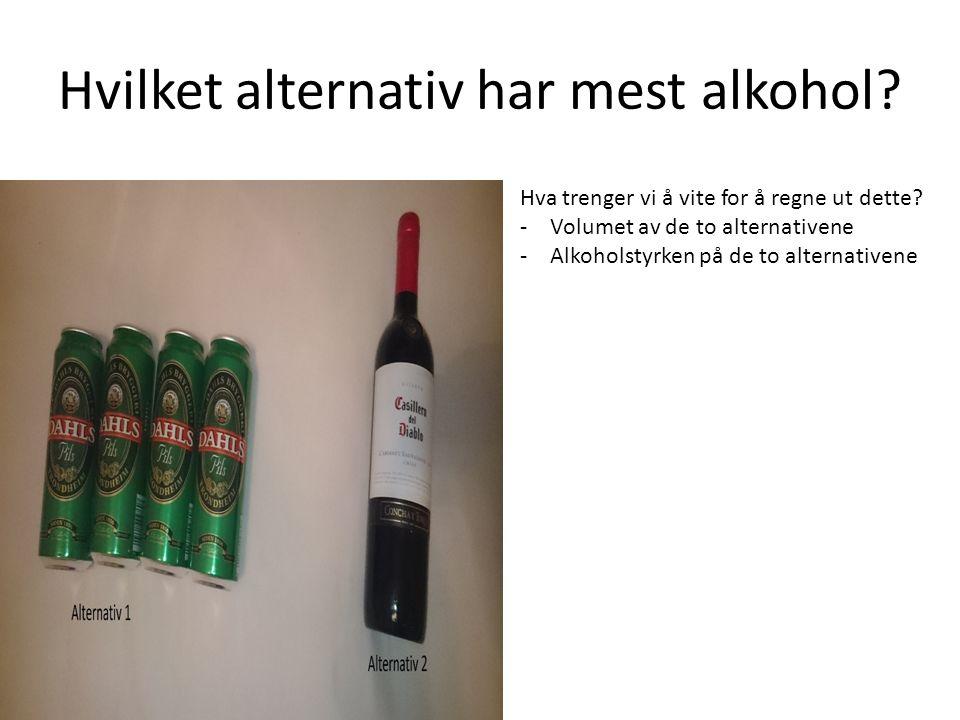 Hvilket alternativ har mest alkohol.Hva trenger vi å vite for å regne ut dette.