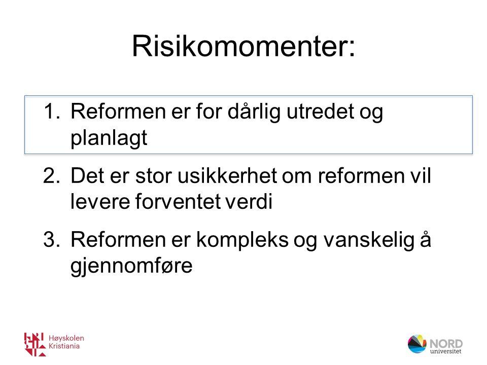 Risikomomenter: 1.Reformen er for dårlig utredet og planlagt 2.Det er stor usikkerhet om reformen vil levere forventet verdi 3.Reformen er kompleks og vanskelig å gjennomføre