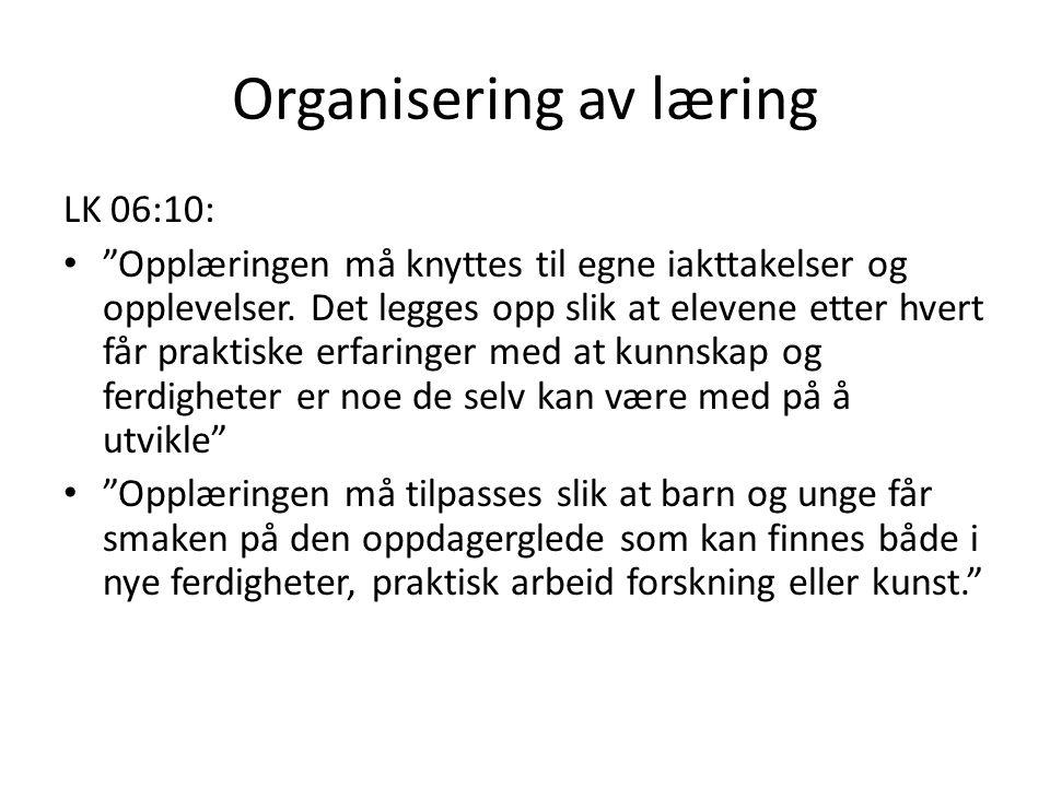 Organisering av læring LK 06:10: Opplæringen må knyttes til egne iakttakelser og opplevelser.