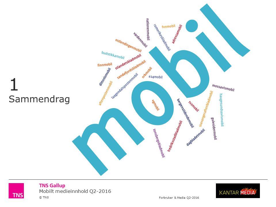 Mobilt medieinnhold Q2-2016 © TNS Forbruker & Media Q2-2016 Sammendrag Forbruker & Media (12 år +) viser at i det i Q2-2016 var omtrent 2,9 millioner personer eller 67 prosent som brukte minst en mobil innholdsleverandør daglig (se side 10-18).